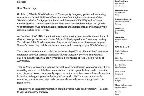 Pismo predsednika Svetovnega združenja pihalnih orkestrov (WASBE)